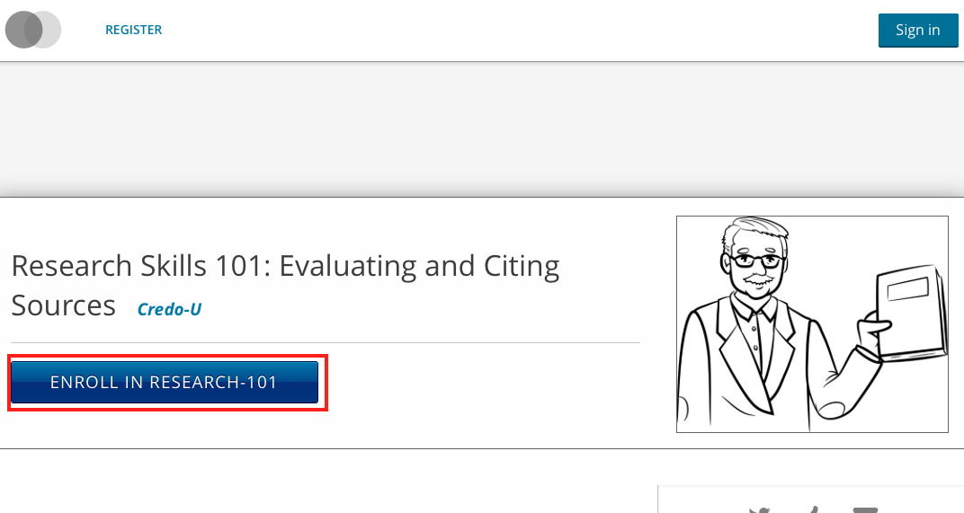 the courseware home page with a course named research skills 101, evaluating and citing sources. the blue enroll button below is highlighted.