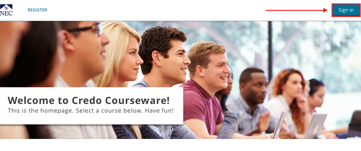 image of the credo courseware dashboard with the sign in link highlighted.
