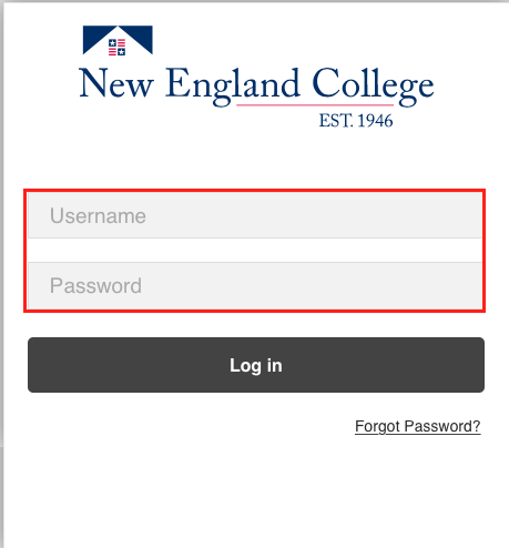 image of a university logo with the fields username and password.