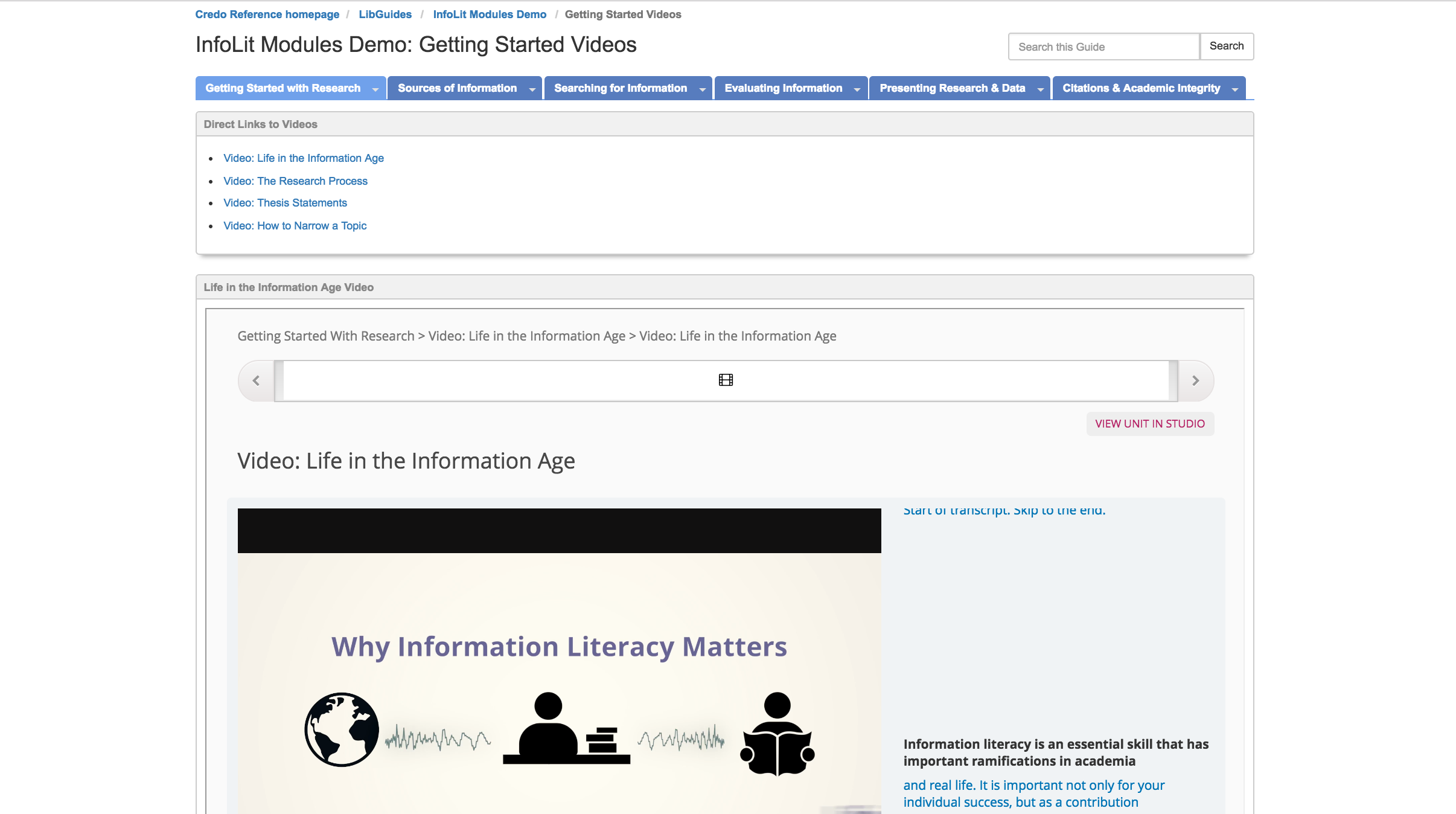 image of a Credo video embedded on a LibGuide