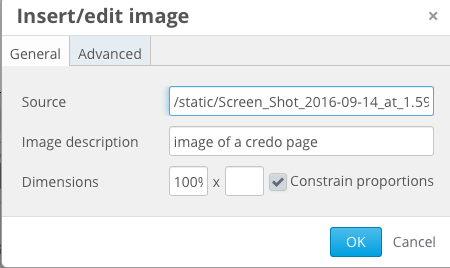 image of the image settings box