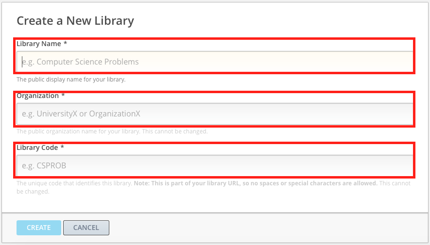 image of the create a new library text box open with each of the fields highlighted