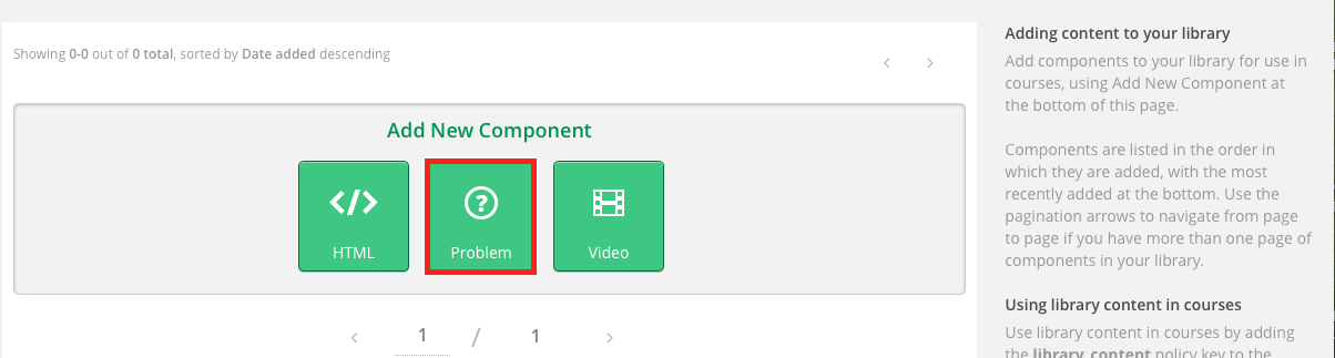 image of the new library with add a component and the green problem component highlighted.